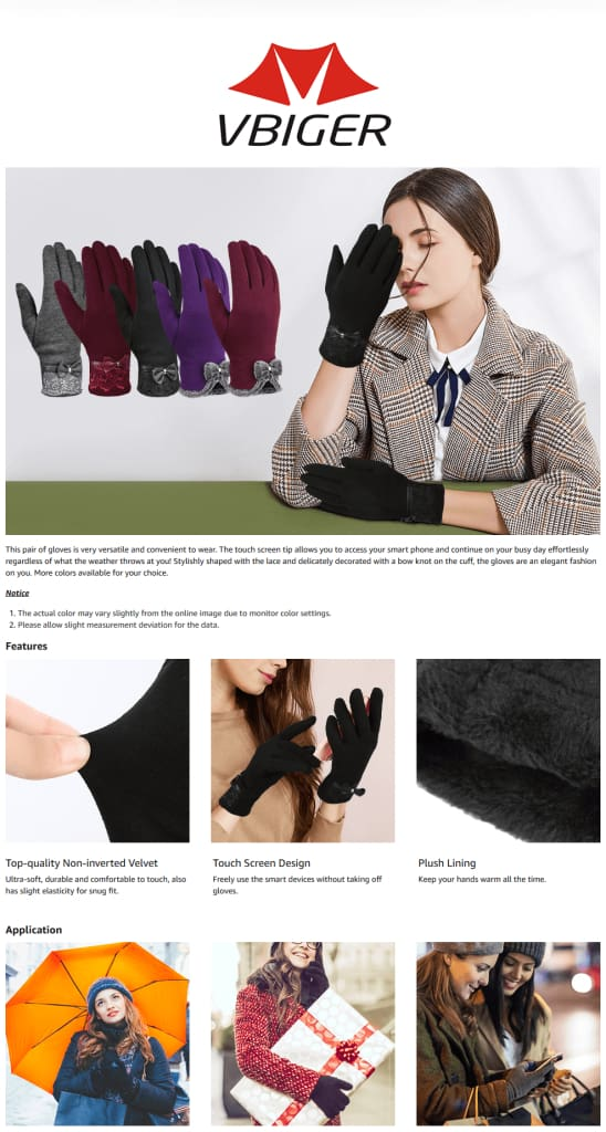 Vbiger Women's Fashionable Flocking Touchscreen Warmer Lace Gloves