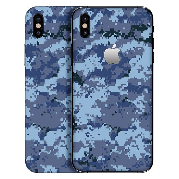 iPhone X CAMO Píxel Blue Skin