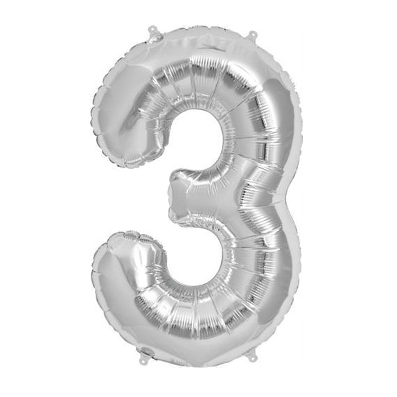 "34"" Silver Foil Number Balloon"