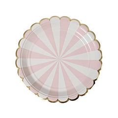 Pastel Pink Plates with Gold Scallop Edging