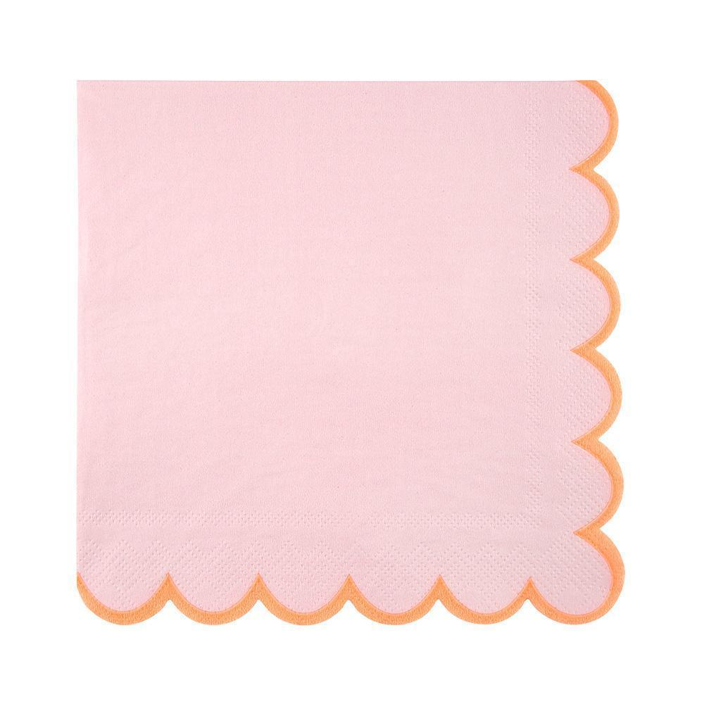 Pink Napkins with Neon Orange Edging