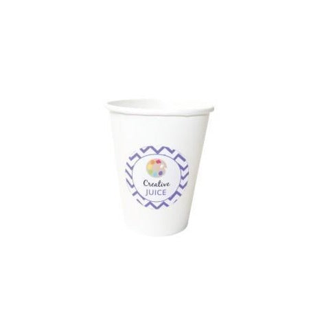 White paper cups with art party stickers