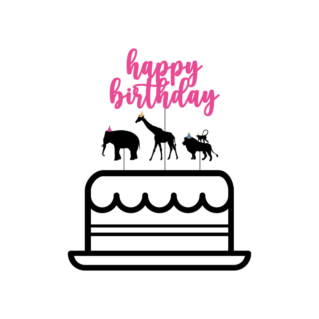 Party Animal 'Happy Birthday' Themed Cake Topper