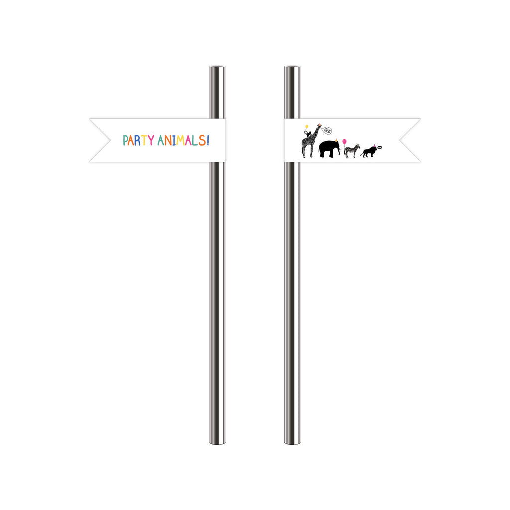 Party Animal Themed Straw Flags