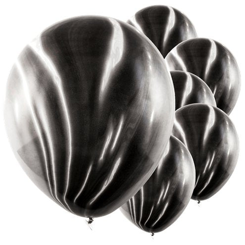 Black and white marbles balloons