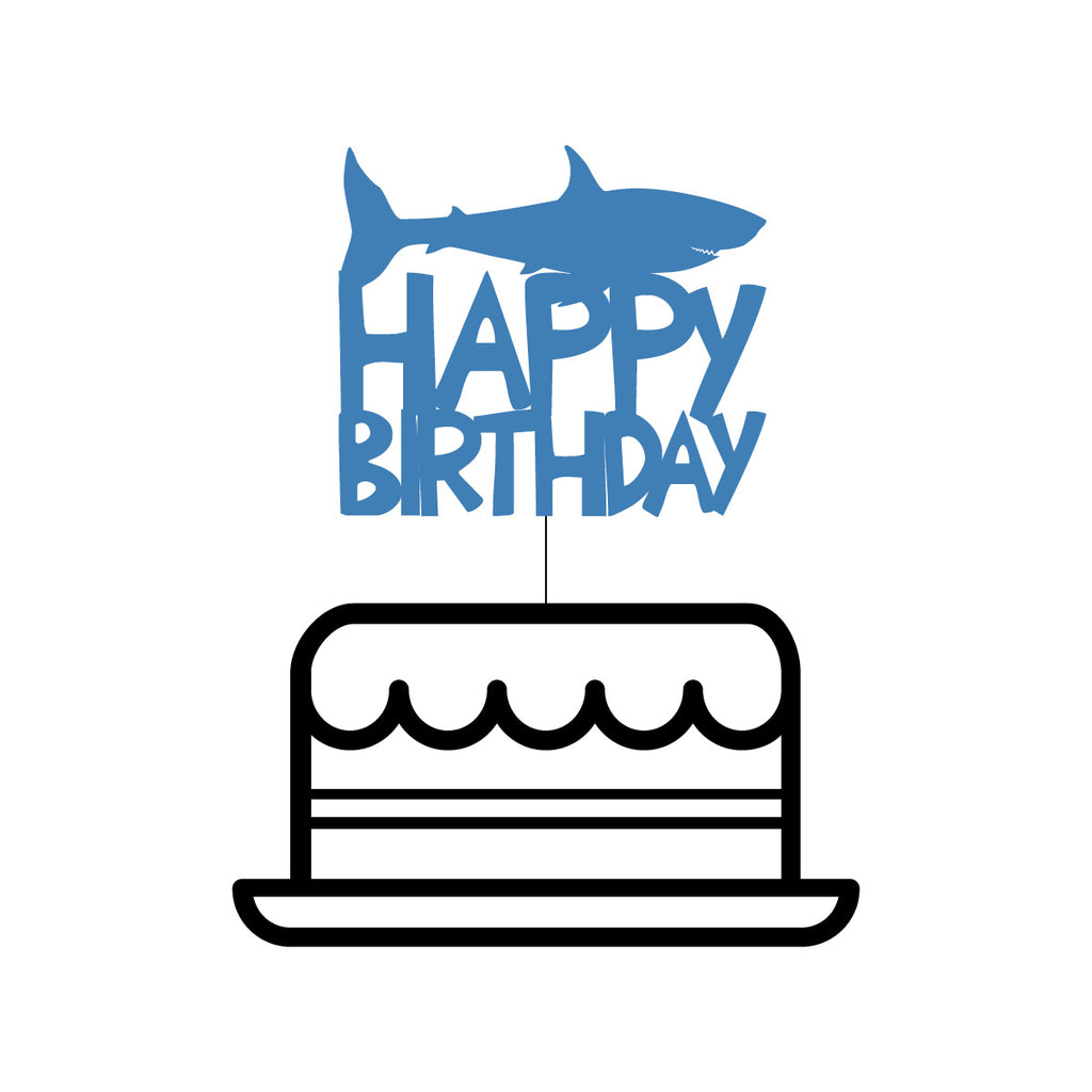 Shark 'Happy Birthday' Themed Cake Topper