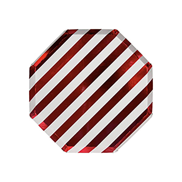 Shiny Red and White Stripy Plates