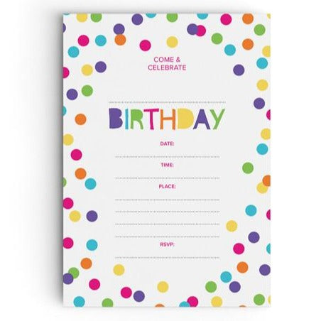 Colourful Confetti Party Invitations