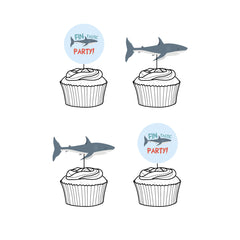Shark 'Fintastic Party' Cupcake Toppers