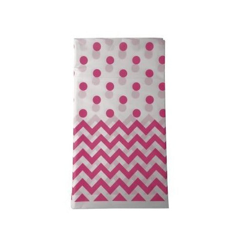 Hot Pink Chevron and Spot Tablecloth