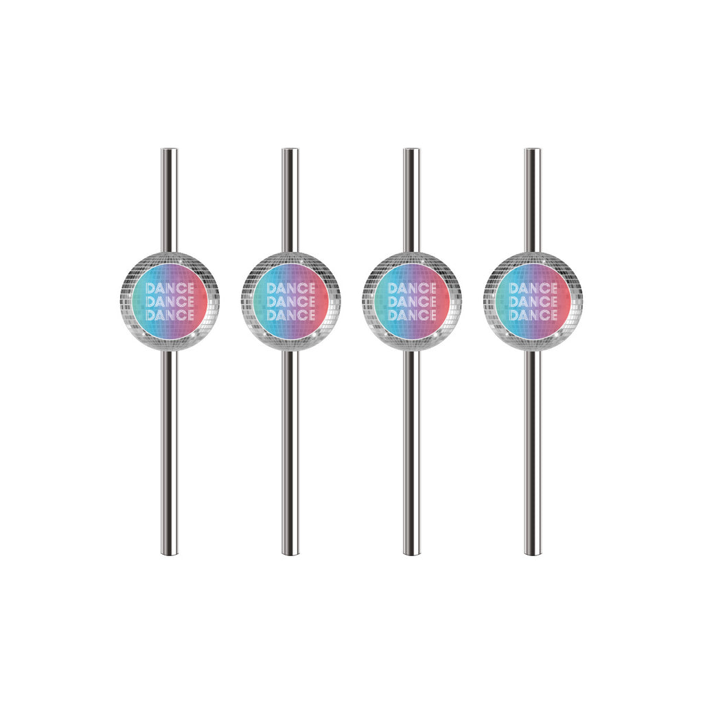 Silver Metallic Paper Straws with Disco Themed Flags
