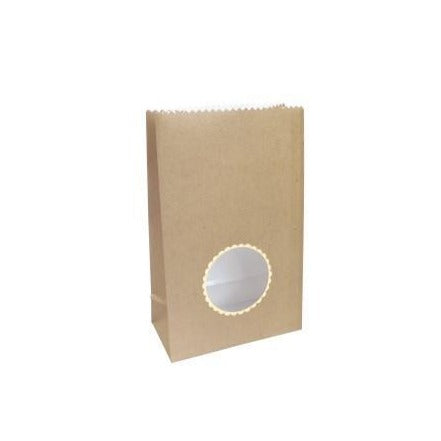8 Brown Paper Treat Bags with Gold Trim Window
