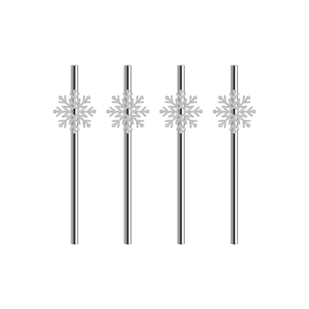 Silver Metallic Paper Straws with Frozen Themed Snowflake Flags