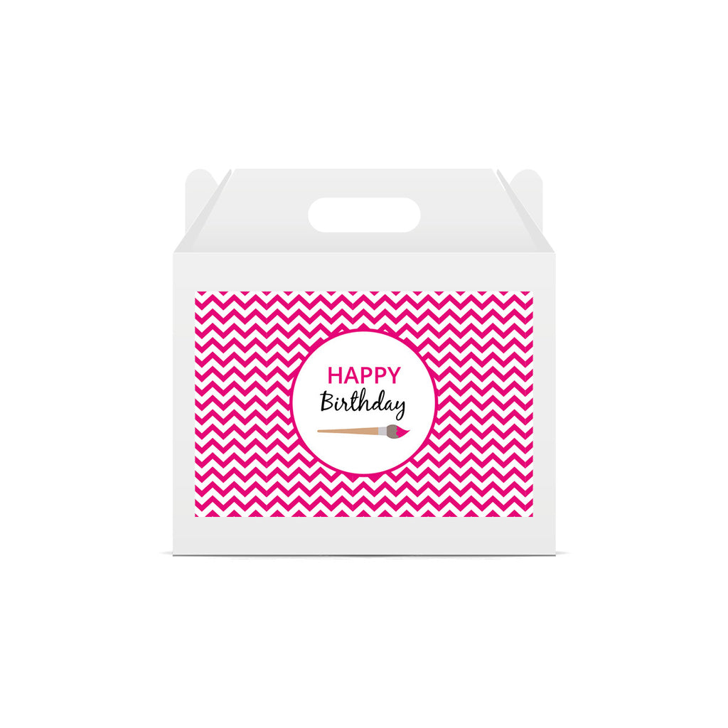 Pink Chevron Arty Lunch Box Stickers