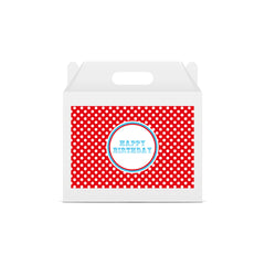 Red Spotty 'Happy Birthday' Circus Lunch Box Stickers