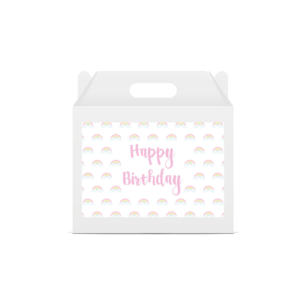 Pastel Rainbow 'Happy Birthday' Lunch Box Stickers
