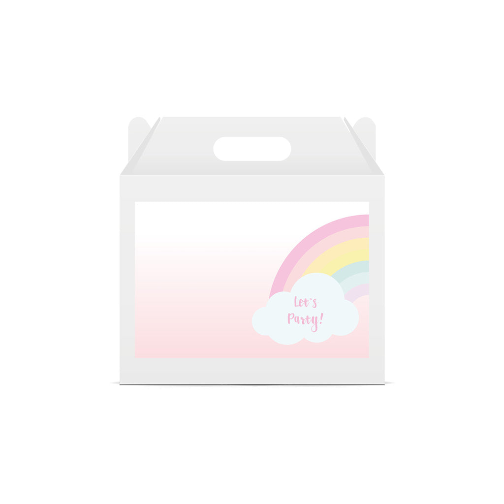 Pastel Rainbow 'Let's Party' Lunch Box Stickers