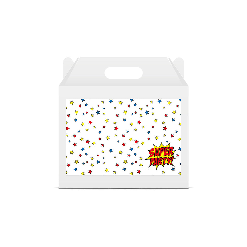 Superhero 'Super Party' Lunch Box Stickers