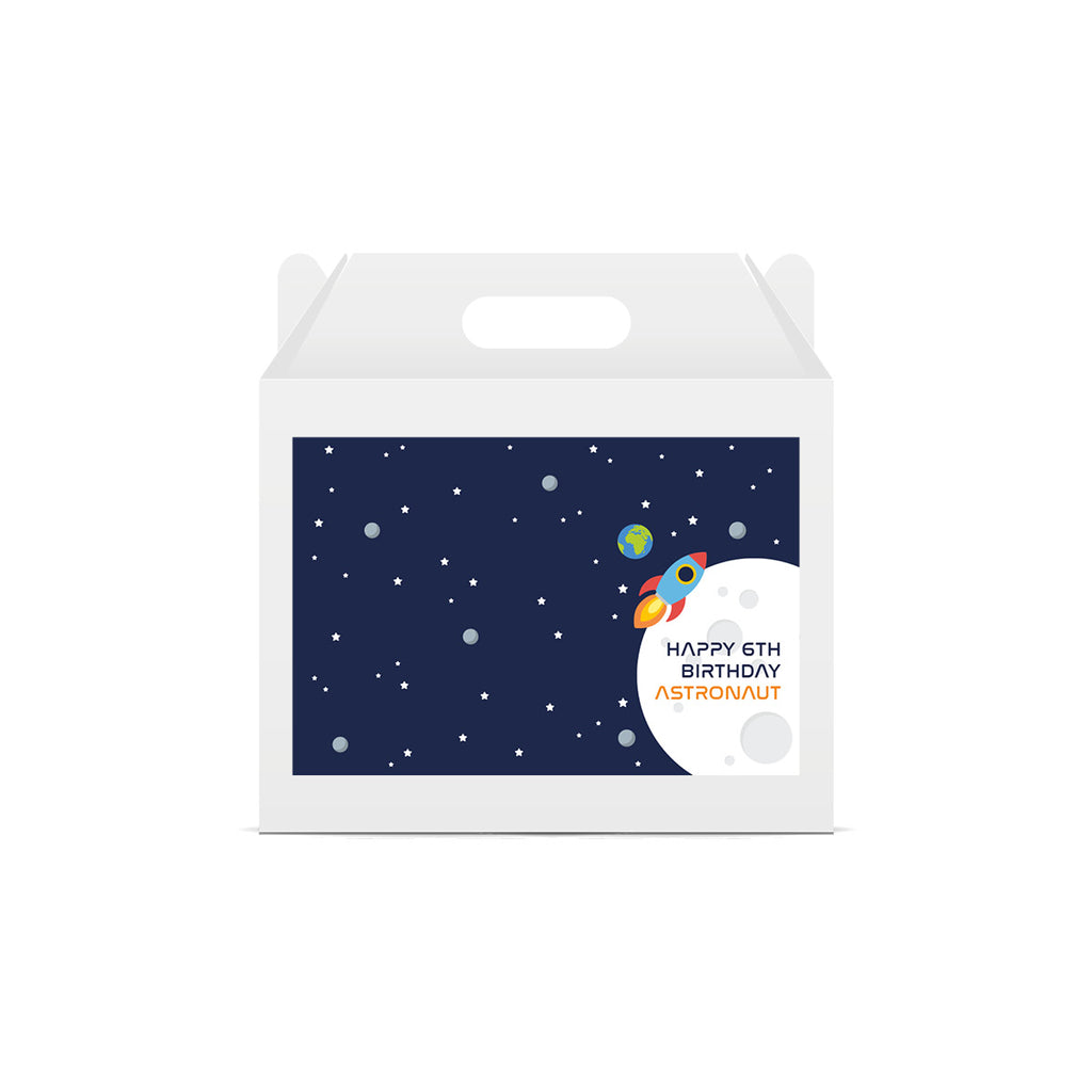 Space Personalised Age Lunch Box Stickers