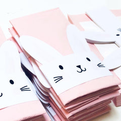 Pink Napkins with Bunny Napkin Wraps