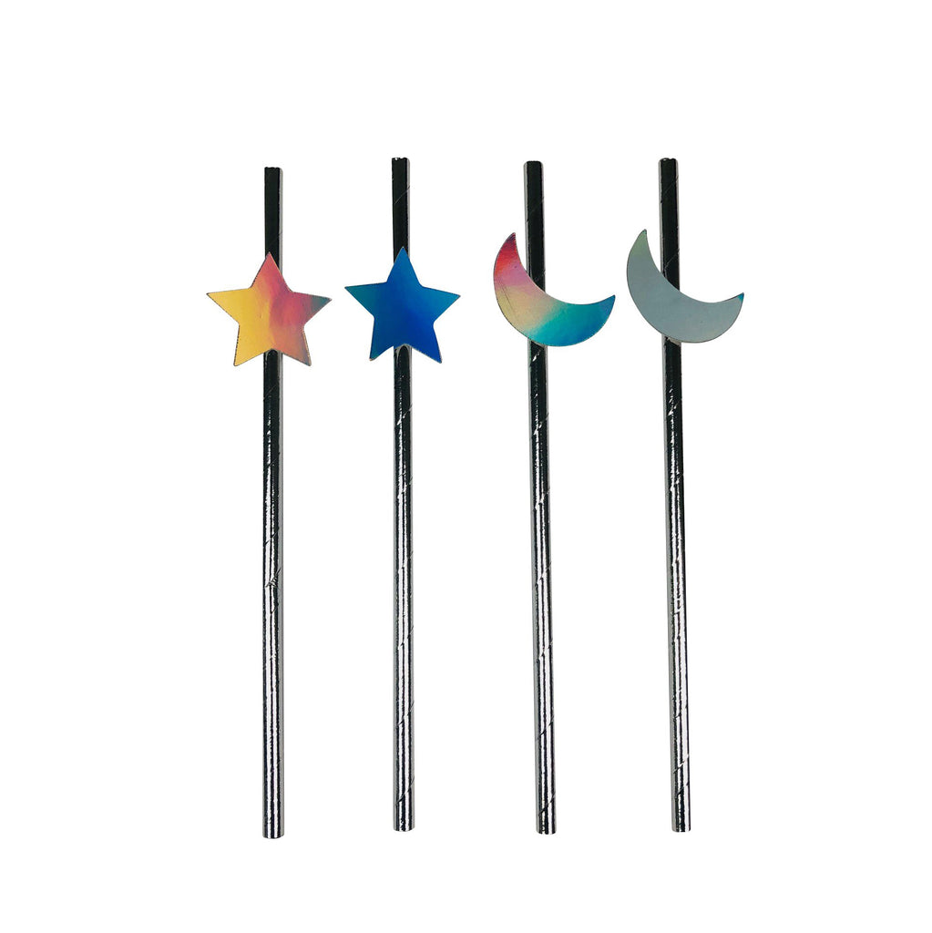 Silver Straws with Moon and Star detail