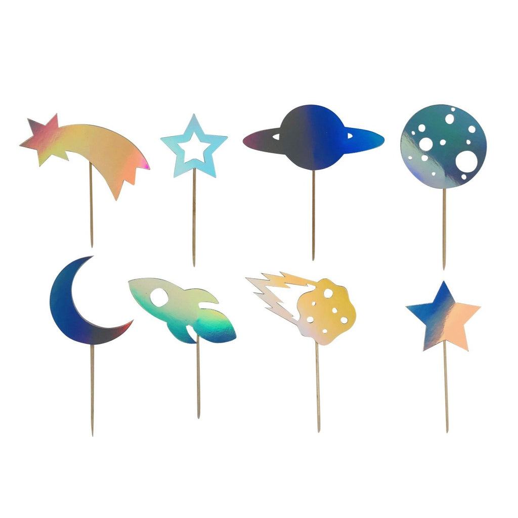 IRIDESCENT SPACE THEMED CUPCAKE TOPPERS