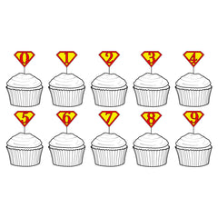 Superhero themed cupcake toppers