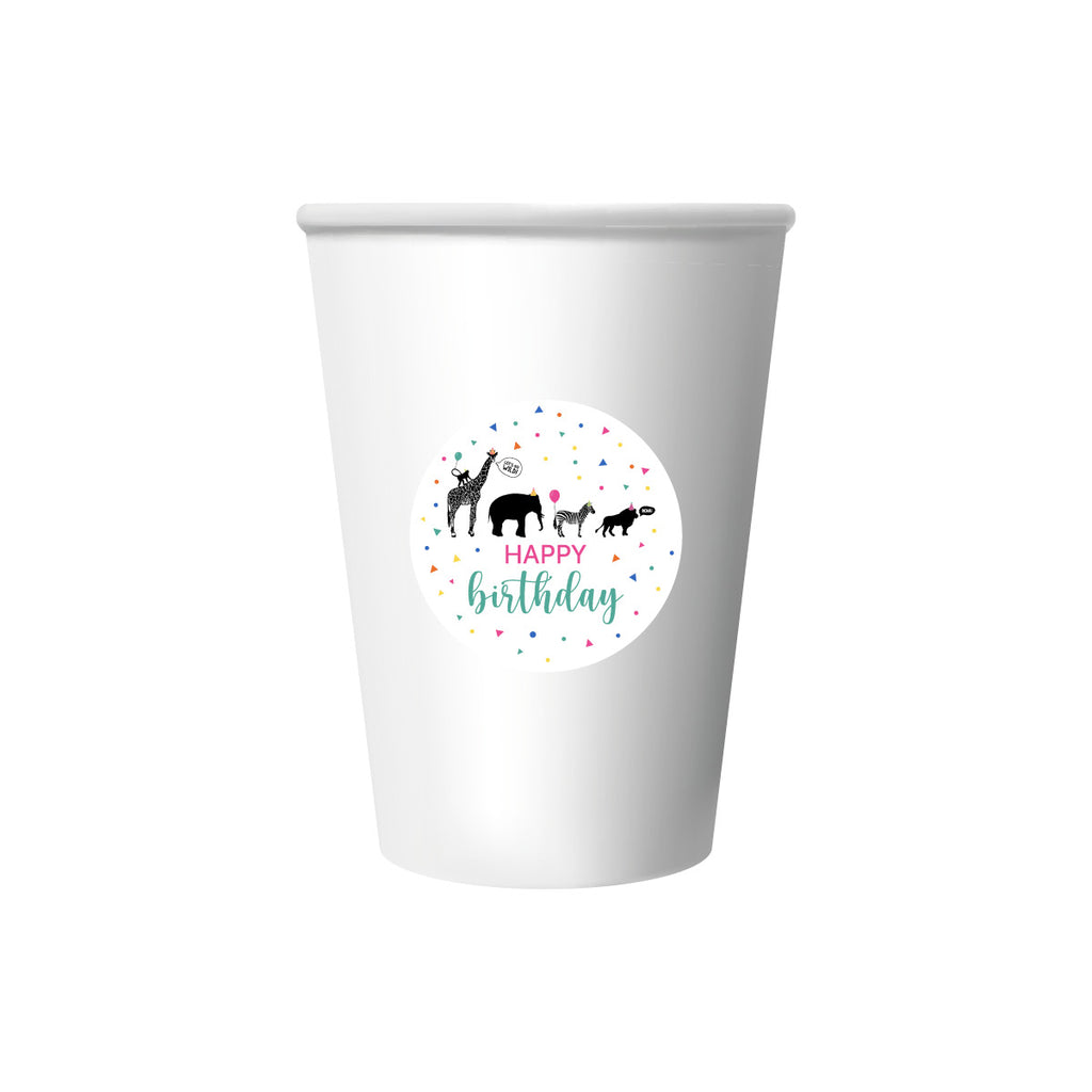 Party Animal 'Happy Birthday' Cup Stickers