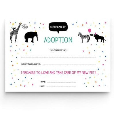 Downloadable A5 Party Animal 'Adopt An Animal' Certificate