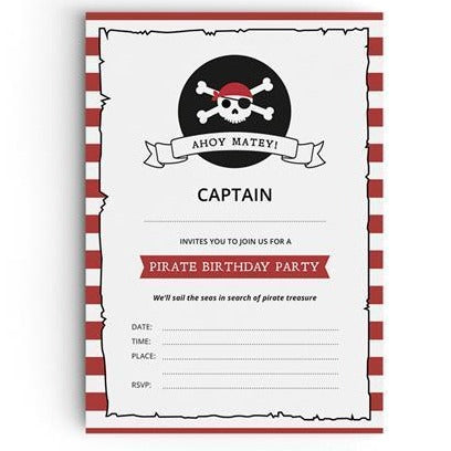 Pirate Themed Party Invitations