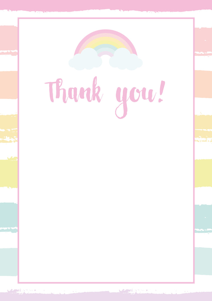 Rainbow Party Thank You Cards
