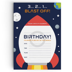 Blast Off Space Themed Party Invitations - non personalised
