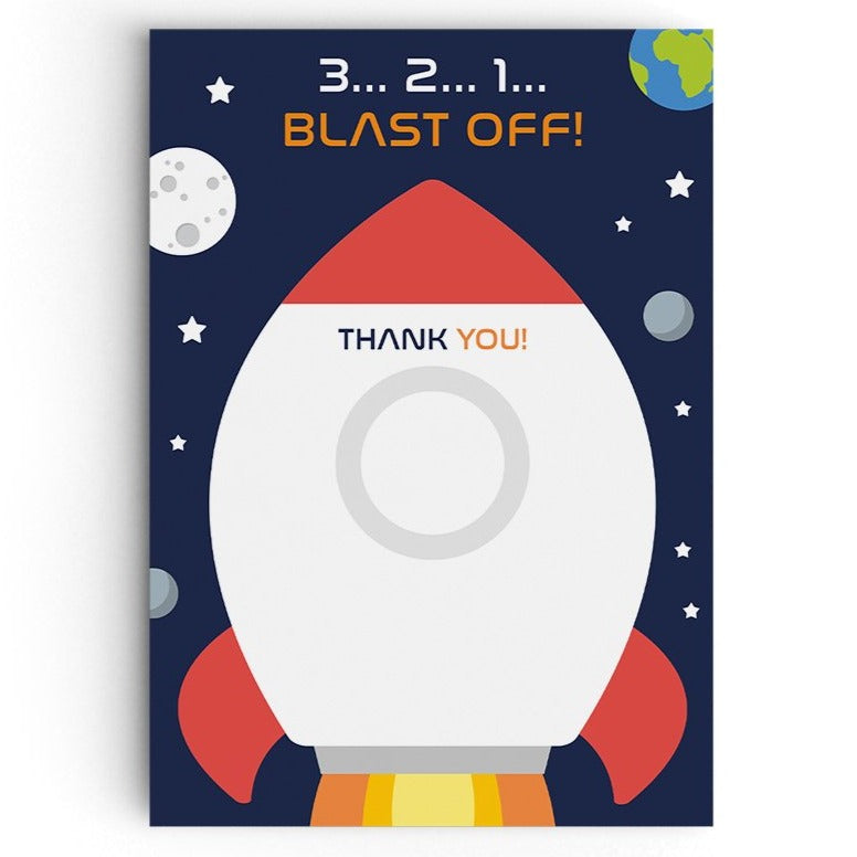 Blast Off Space Themed Thank You Cards
