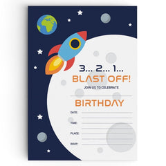 Personalised Space Themed Party Invitations