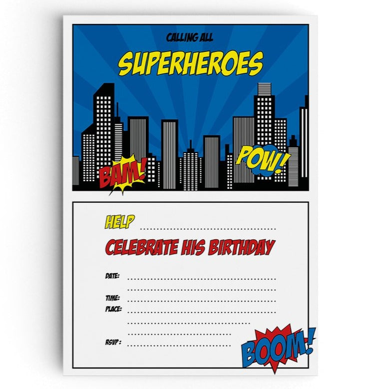 Calling All Superheroes Themed Party Invitations - non personalised