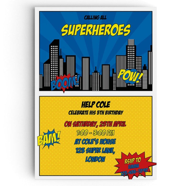 Calling All Superheroes Themed Party Invitations - personalised