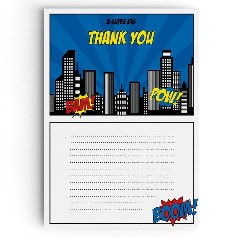 Calling All Superheroes Themed Thank You Cards - non personalised