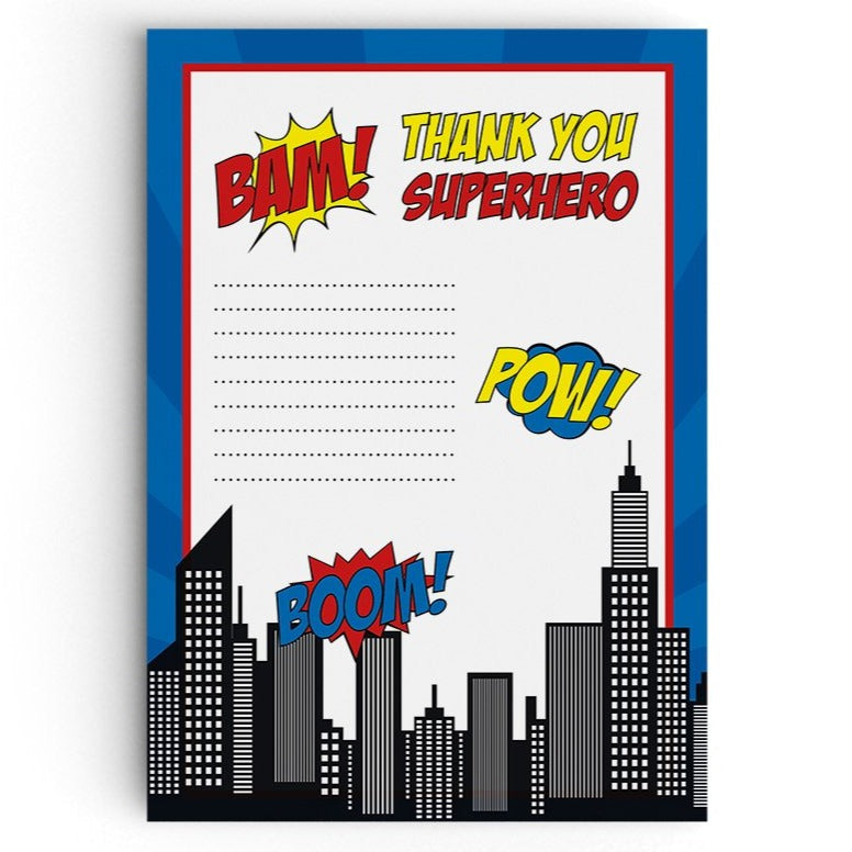 Superhero Themed Thank You Cards