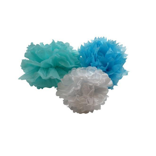 Turquoise, blue and white paper pom poms