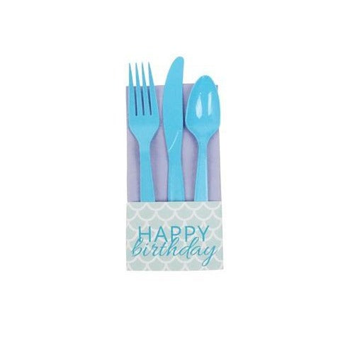Lilac Paper Napkins with Mermaid 'Happy Birthday' Wraps
