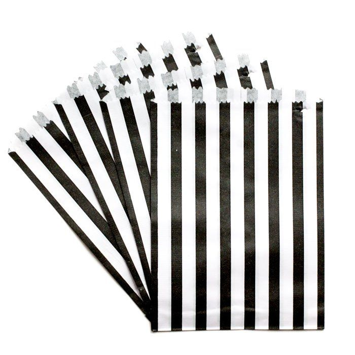 Black and White Striped Treat Bags