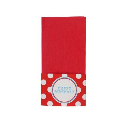 Red Paper Napkins with Circus Themed Napkin Wraps