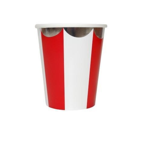 Stripy Red and White Paper Cups