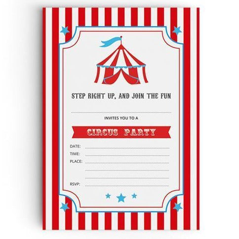 Circus Themed Party Invitations - non personalised