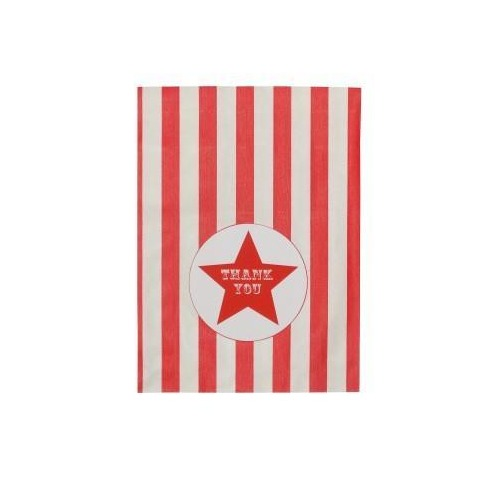 Red and White Stripy Treat Bags with Thank You Stickers