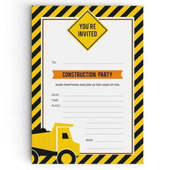 Construction Themed Party Invitations - non personalised