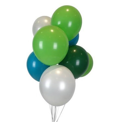 "11"" Green, Teal and White Balloon Pack"