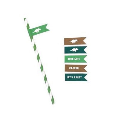 Green Striped Paper Straws with Dinosaur Straw Flags