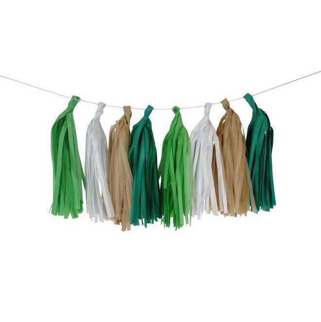 Green, White and Brown Tassel Garland