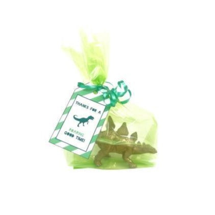 Green Clear Cellophane Party Bags with Dinosaur Thank You Tags
